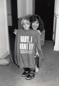 Baby I Want It sweat shirt modeled by my son Ernest.