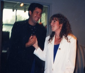 """Vince Gill and I celebrating our song """"Here We Are"""" going to #1 for Alabama, 1992"""