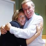 Enjoying a hug with Terry Wogan