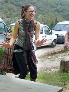 Francesca doing the penguin dance