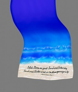 Sand & Water Ocean Scarf 60x12 in. printed on 12.5mm silk charmeuse
