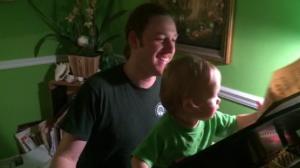 Trey and his Dad at the piano