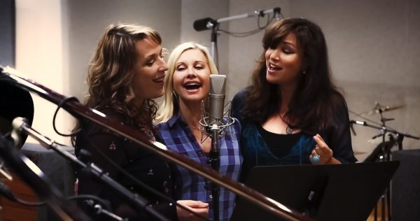 Singing in the studio with Olivia and Amy