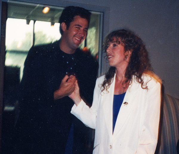 "Vince Gill and I celebrating our song ""Here We Are"" going to #1 for Alabama, 1992"