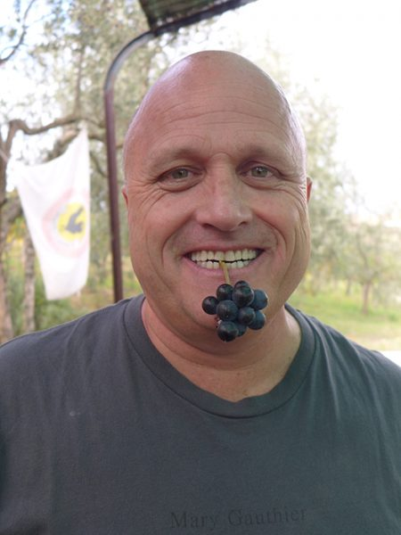 Phil chewing on wine embryos.